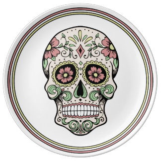 Vintage Day of the Dead Sugar Skull Plate