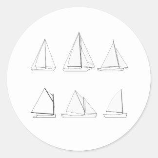 Vintage Day Sailing Sailboats Logo Classic Round Sticker