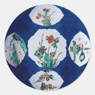Vintage de cerámica pegatina redonda