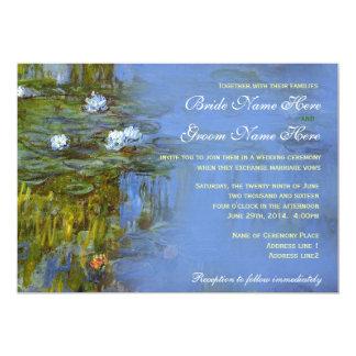 """Vintage de Claude Monet waterlily que se casa Invitación 5"""" X 7"""""""