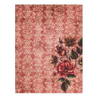 Vintage de color rojo oscuro con las flores tarjetas postales
