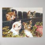 """Vintage de """"cuatro gatitos"""" impresiones"""
