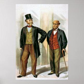 """Vintage de """"dos caballeros del Victorian"""" Póster"""