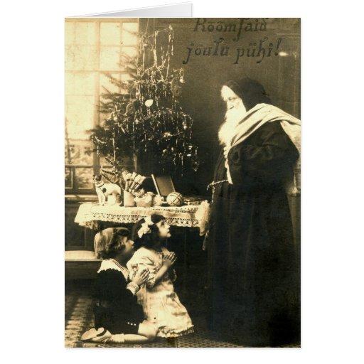 Vintage de Finlandia de los niños de Papá Noel del Tarjeta De Felicitación