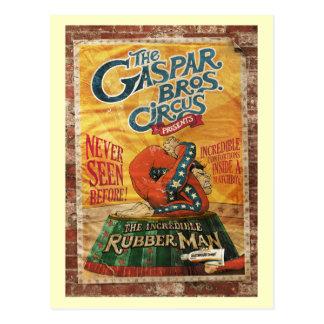 Vintage de goma del hombre del circo increíble postales
