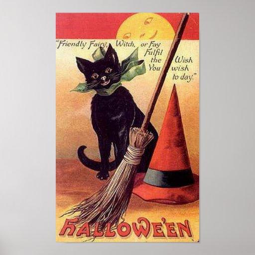 Vintage de hadas amistoso Halloween Póster