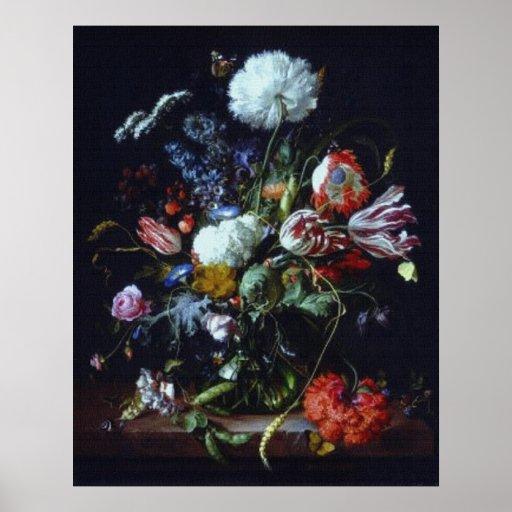 Vintage de Heem Flowers en poster del florero