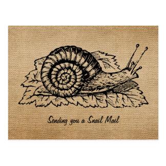Vintage de la arpillera que envía el snail mail tarjeta postal