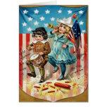 Vintage de la bandera americana del desfile de los tarjetón