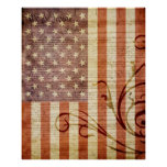 Vintage de la bandera americana impresiones