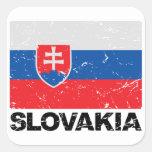 Vintage de la bandera de Eslovaquia Calcomania Cuadradas Personalizada
