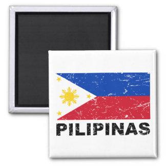 Vintage de la bandera de Filipinas Imán Cuadrado