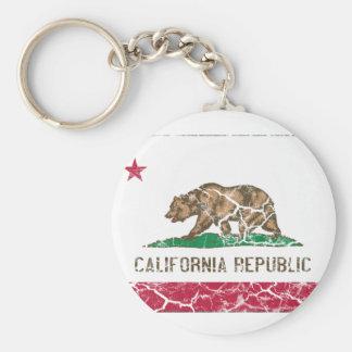 Vintage de la bandera del estado de California Llavero Redondo Tipo Pin