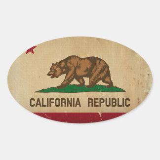VINTAGE de la bandera del estado de California Pegatina Ovalada