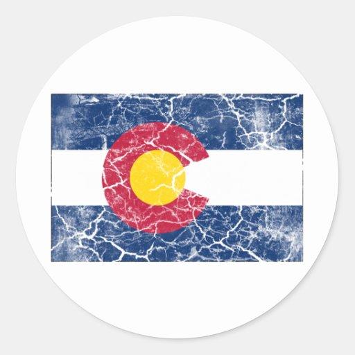 Vintage de la bandera del estado de Colorado Pegatina Redonda