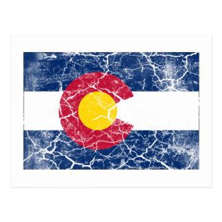 Vintage de la bandera del estado de Colorado Postal