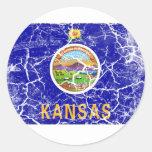 Vintage de la bandera del estado de Kansas Pegatinas Redondas