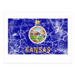 Vintage de la bandera del estado de Kansas Tarjeta Postal