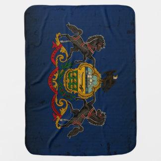 VINTAGE de la bandera del estado de Pennsylvania Mantas De Bebé