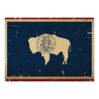 """VINTAGE de la bandera del estado de Wyoming Invitación 5"""" X 7"""""""