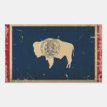 VINTAGE de la bandera del estado de Wyoming Pegatina Rectangular