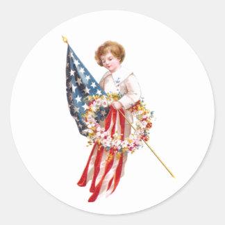 Vintage de la bandera, del muchacho y de la pegatina redonda