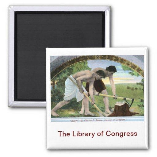 Vintage de la Biblioteca del Congreso Imán Cuadrado