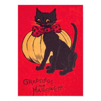 """Vintage de la calabaza de Bowtie del gato negro Invitación 5"""" X 7"""""""
