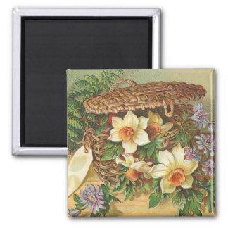 Vintage de la cesta de la flor de la primavera iman para frigorífico