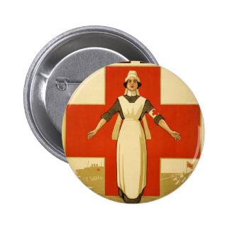 Vintage de la Cruz Roja del poster de WWI Pin Redondo De 2 Pulgadas