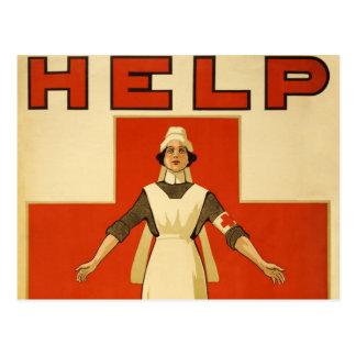 Vintage de la Cruz Roja del poster de WWI Tarjetas Postales