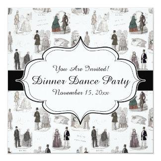 """Vintage de la elegancia de la moda de Biedermeier Invitación 5.25"""" X 5.25"""""""