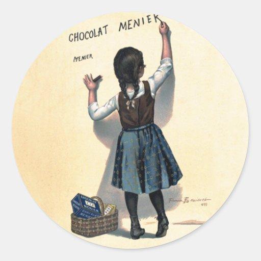Vintage de la escritura de la pared del chocolate etiqueta redonda