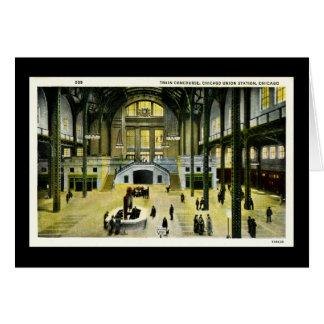 Vintage de la estación de la unión de Chicago del Tarjeta De Felicitación