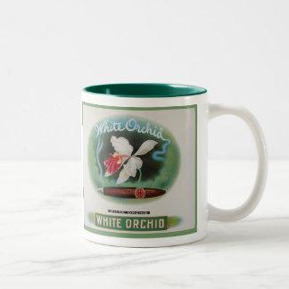 Vintage de la etiqueta del cigarro taza de café de dos colores