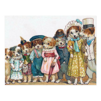 Vintage de la familia de perro tarjeta postal