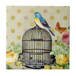 Vintage de la flor de la jaula de pájaros azulejo cuadrado pequeño