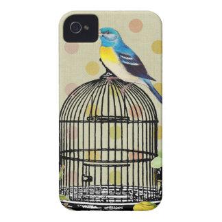 Vintage de la flor de la jaula de pájaros carcasa para iPhone 4