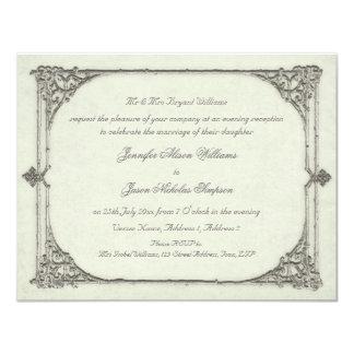Vintage de la invitación del boda de la