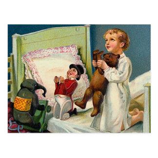 """Vintage de la mañana de navidad"" Postal"