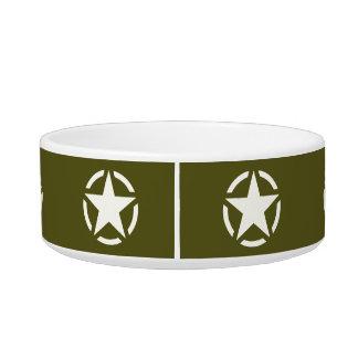 Vintage de la plantilla de la estrella en verde de comedero para mascota