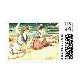 Vintage de la playa que baña bellezas timbres postales