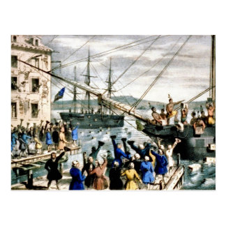 Vintage de la postal de la fiesta del té de Boston