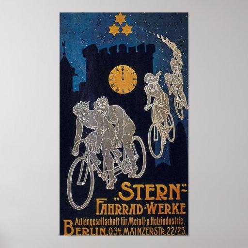 Vintage de la publicidad de la bicicleta póster