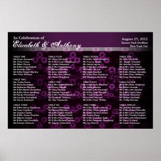 Vintage de la púrpura del poster de la carta del a