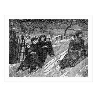 Vintage de la raza del trineo del navidad del postal