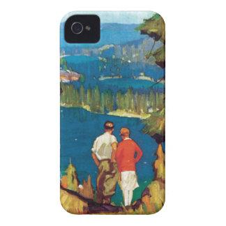 Vintage de la región del lago Tahoe iPhone 4 Case-Mate Carcasa