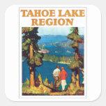 Vintage de la región del lago Tahoe Calcomanías Cuadradas Personalizadas
