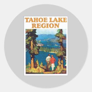 Vintage de la región del lago Tahoe Pegatina Redonda
