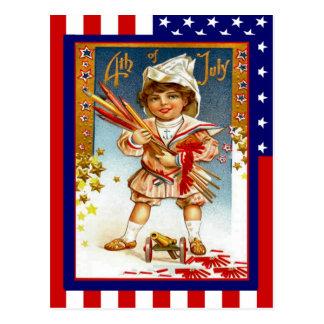 Vintage de la reproducción el 4 de julio, muchacho tarjeta postal